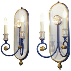 Pair of Blue Mirrored Brass Wall Sconces by Banci, Italy, circa 1980s