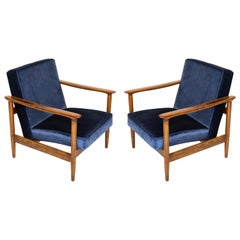 Pair of Dark Blue Velvet Armchairs, Designed by Edmund Homa, 1960s