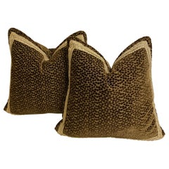 Pair of Dark Brown Cut-Velvet Cushions with Gold Trim