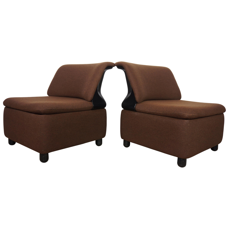 Pair of Dark Brown Fabric Lounge Armchairs