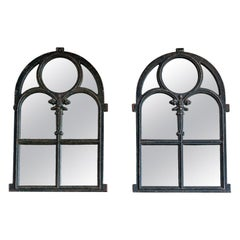 Pair of Dark Green Arched Cast Iron Reclaimed Window Mirrors, Late 19th Century