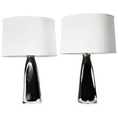 Pair of Dark Green Orrefors Lamps, Sweden, 1960