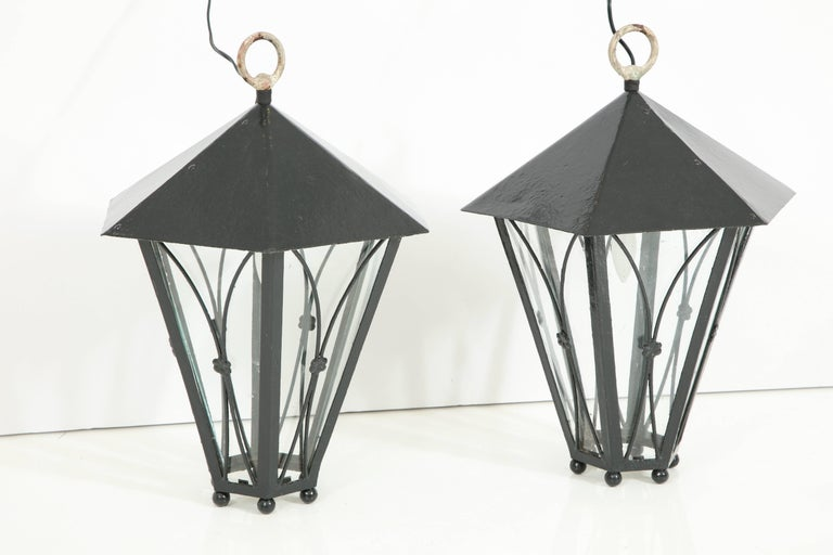 Provençal style electrified lanterns, can be hung or used as tabletop lanterns.