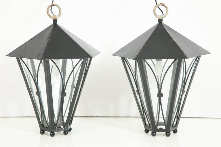 French Pair of Dark Green Painted Lanterns For Sale