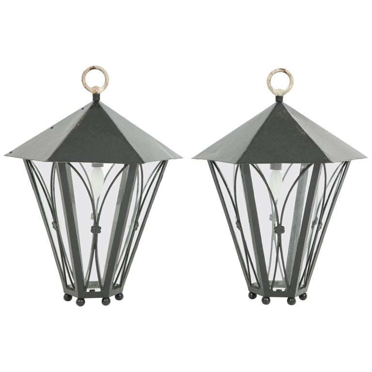 Pair of Dark Green Painted Lanterns For Sale