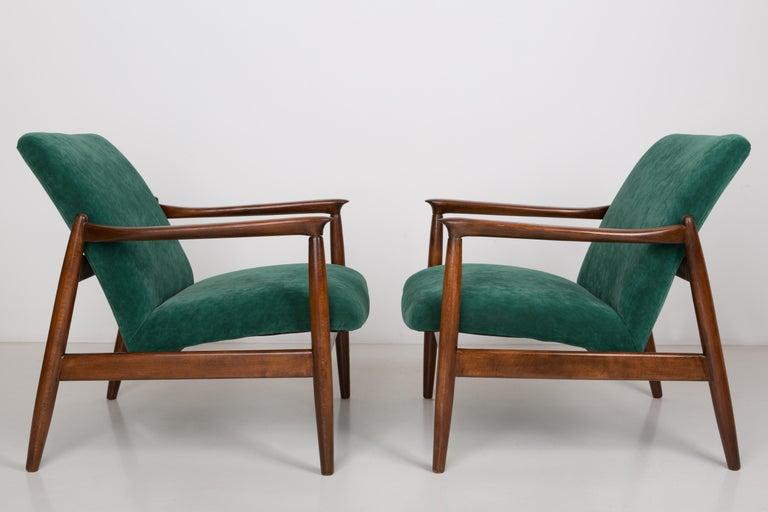 Pair Of Dark Green Velvet Armchairs Edmund Homa 1960s For Sale At