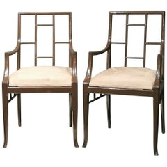 """Pair of Dark Grey """"Chinoiserie"""" Armchairs by Maison Jansen, France 1970s"""