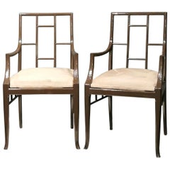 "Pair of Dark Grey ""Chinoiserie"" Armchairs by Maison Jansen, France, 1970s"
