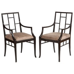 """Pair of Dark Grey """"Chinoiserie"""" Lacquer Armchairs by Maison Jansen, France 1970s"""