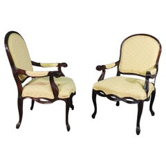 Pair of Dark Mahogany French Louis XV Fauteuills Armchairs