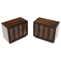 Pair of Dark & Medium Walnut End Tables or Nightstands Double Doors One Drawer
