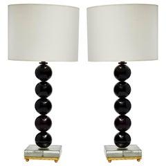Pair of Dark Purple Murano Glass Balls Table Lamps
