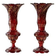 Pair of Dark Red Bohemian Crystal Vases