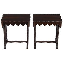 Pair of Dark Wood Twist Leg Matching Gothic Style End Tables with Drawers