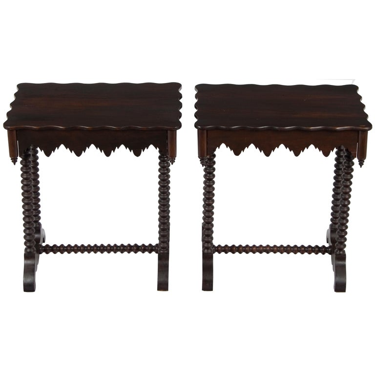 Pair Of Dark Wood Twist Leg Matching Gothic Style End Tables With Drawers For