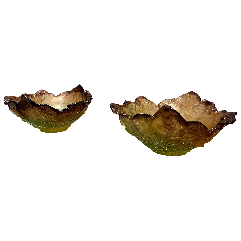 Pair of Daum Glass Bowls