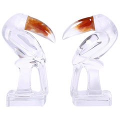 Pair of Daum Glass Toucans or Birds