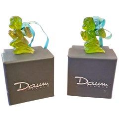 Pair of Daum Glass Xmas Tree Cherub Decorations