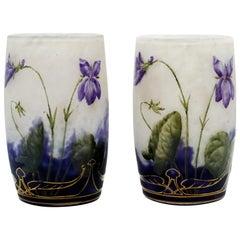 Pair of Daum Nancy Art Nouveau Vases with Violet Decor, France, 1890-1895