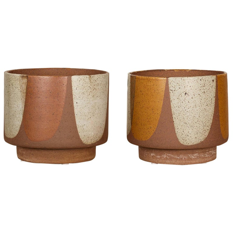 "David Cressey ""Flame-Glaze"" Pro/Artisan Planters for Architectural Pottery, Pair For Sale"