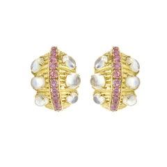 Pair of David Webb Moonstones Pink Sapphires 18 Carats Yellow Gold Clip Earrings