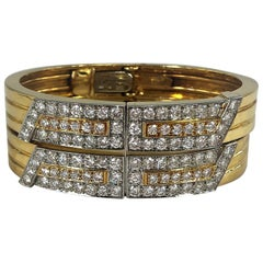 Pair of David Webb Platinum/Gold and Diamond Split Front Bangles