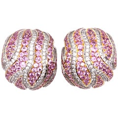 Pair of De Grisogono Geneve Diamond Earrings with Pink Sapphires
