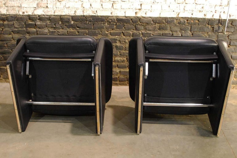 Pair of De Sede Black Leather Reclining DS50 Lounge Chairs, Switzerland, 1970s For Sale 4