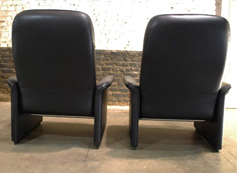Pair of De Sede Black Leather Reclining DS50 Lounge Chairs, Switzerland, 1970s For Sale 2