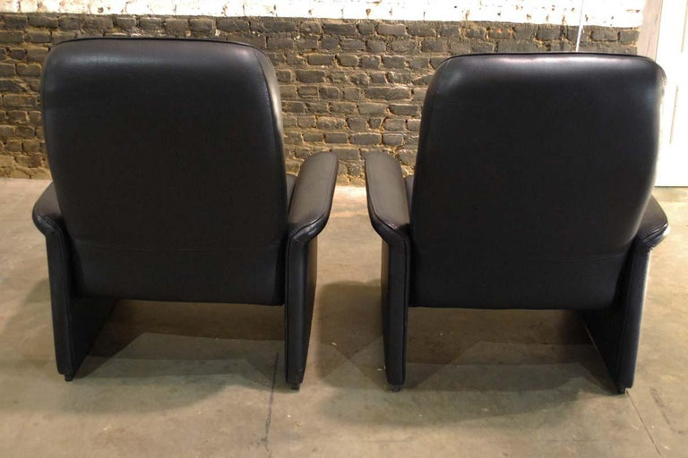 Pair of De Sede Black Leather Reclining DS50 Lounge Chairs, Switzerland, 1970s For Sale 3