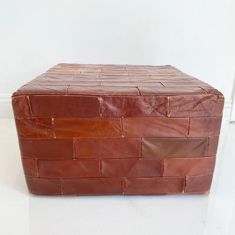 Pair of De Sede Brown Patchwork Leather Ottomans For Sale 5