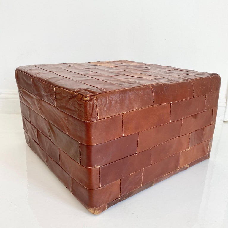 Pair of De Sede Brown Patchwork Leather Ottomans For Sale 6