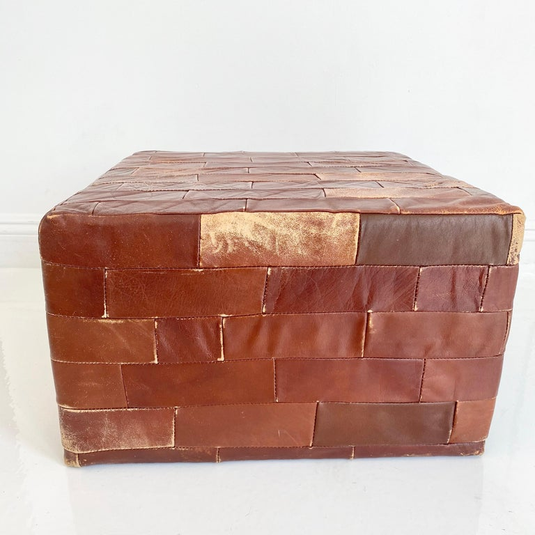 Pair of De Sede Brown Patchwork Leather Ottomans For Sale 9