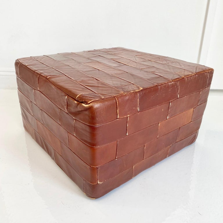 Pair of De Sede Brown Patchwork Leather Ottomans For Sale 1