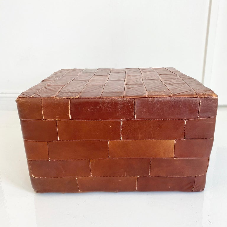 Pair of De Sede Brown Patchwork Leather Ottomans For Sale 2
