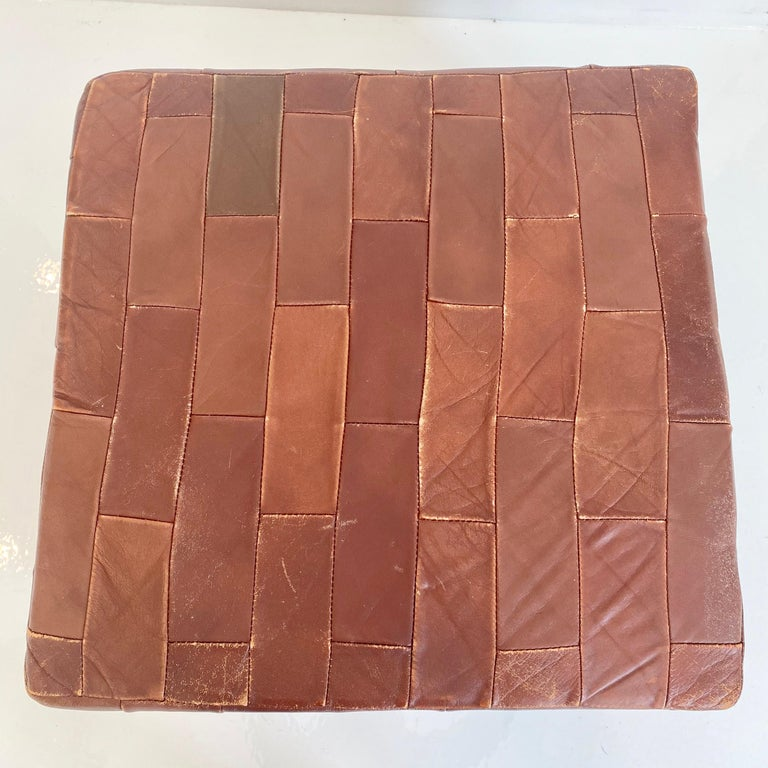 Pair of De Sede Brown Patchwork Leather Ottomans For Sale 3