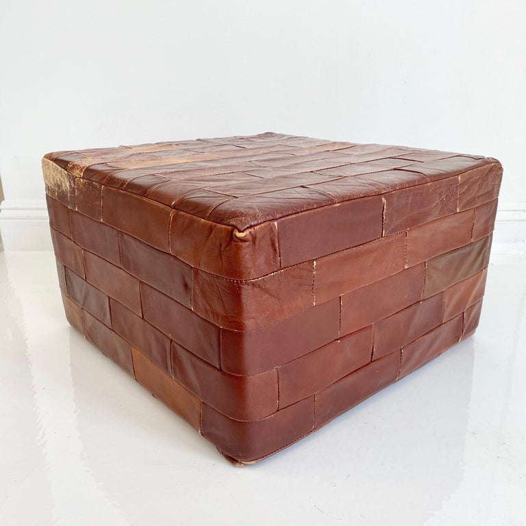 Pair of De Sede Brown Patchwork Leather Ottomans For Sale 4