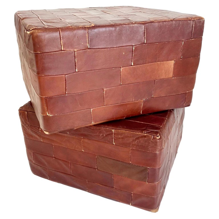 Pair of De Sede Brown Patchwork Leather Ottomans For Sale