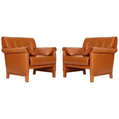 Pair of De Sede 'DS-14' Armchairs Lounge Chairs, Cognac Leather Teak, 1989