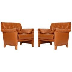 Pair of De Sede 'DS-14' Armchairs Lounge Chairs, Cognac Leather Teak, 1980s