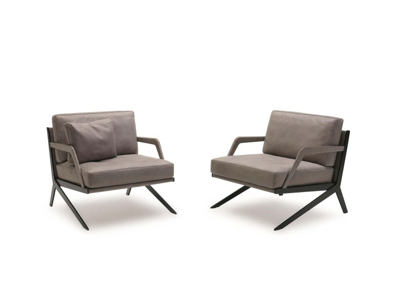 Pair of De Sede DS-60 Armless Chairs Brown Leather and Polished Stainless Steel For Sale 5