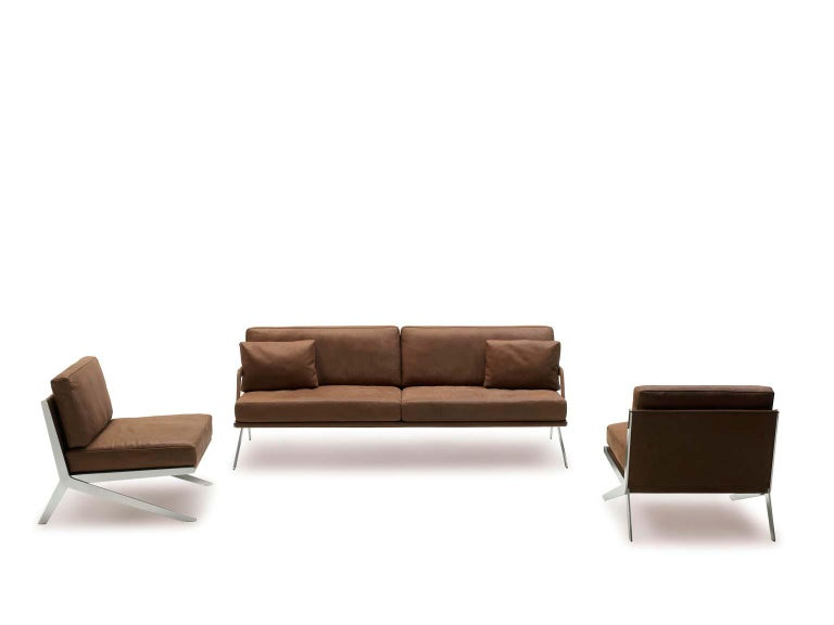 Pair of De Sede DS-60 Armless Chairs Brown Leather and Polished Stainless Steel For Sale 6