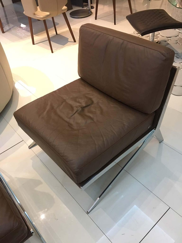 Swiss Pair of De Sede DS-60 Armless Chairs Brown Leather and Polished Stainless Steel For Sale