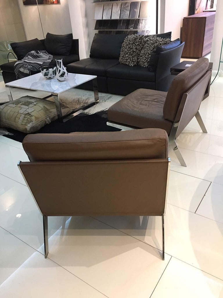 Pair of De Sede DS-60 Armless Chairs Brown Leather and Polished Stainless Steel For Sale 3