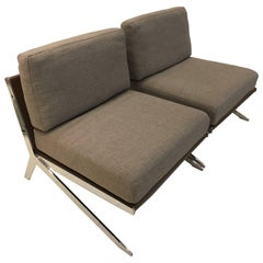 Pair of De Sede Ds-60 Armless Lounge Chairs Combination of Leather and Fabric