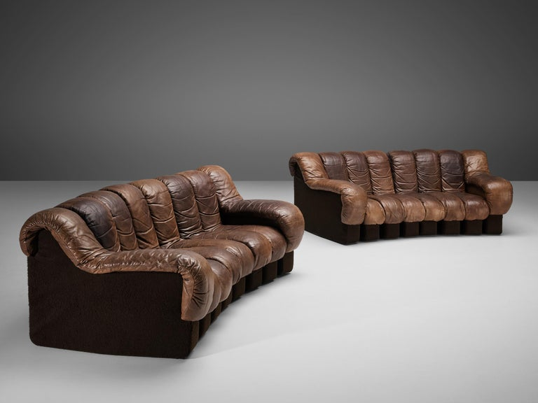 Pair of De Sede DS-600 Sofas in Brown Leather For Sale 5