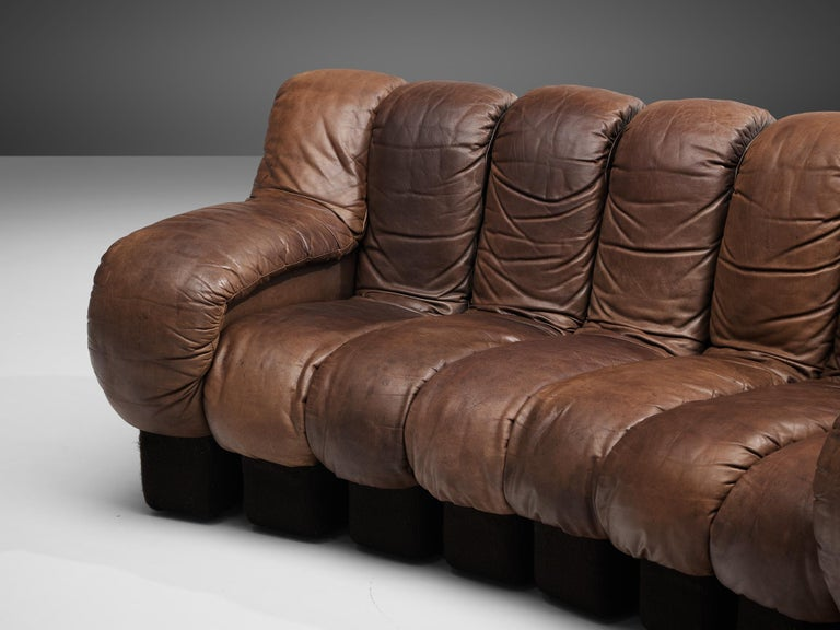 Mid-Century Modern Pair of De Sede DS-600 Sofas in Brown Leather For Sale
