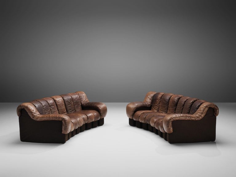 Swiss Pair of De Sede DS-600 Sofas in Brown Leather For Sale