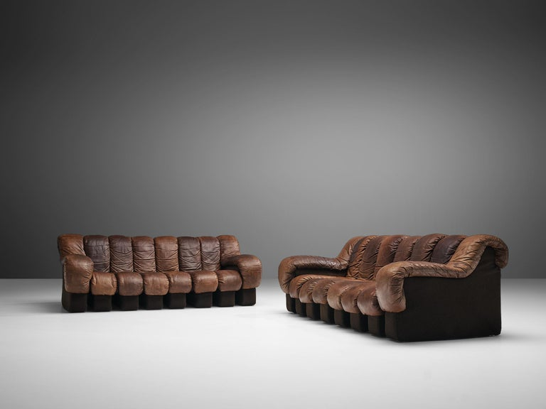 Late 20th Century Pair of De Sede DS-600 Sofas in Brown Leather For Sale