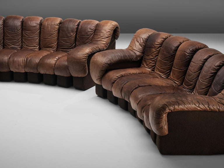 Pair of De Sede DS-600 Sofas in Brown Leather For Sale 1